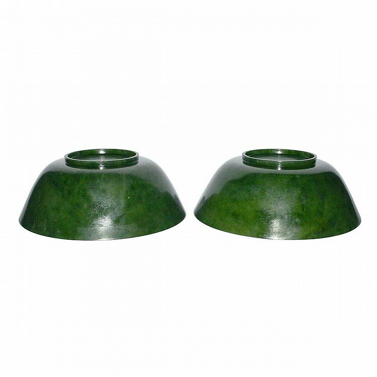 A Pair of Large Spinach Green Jade Bowls, Qing Dynasty, Yongzheng Six Character Mark and of the Period3