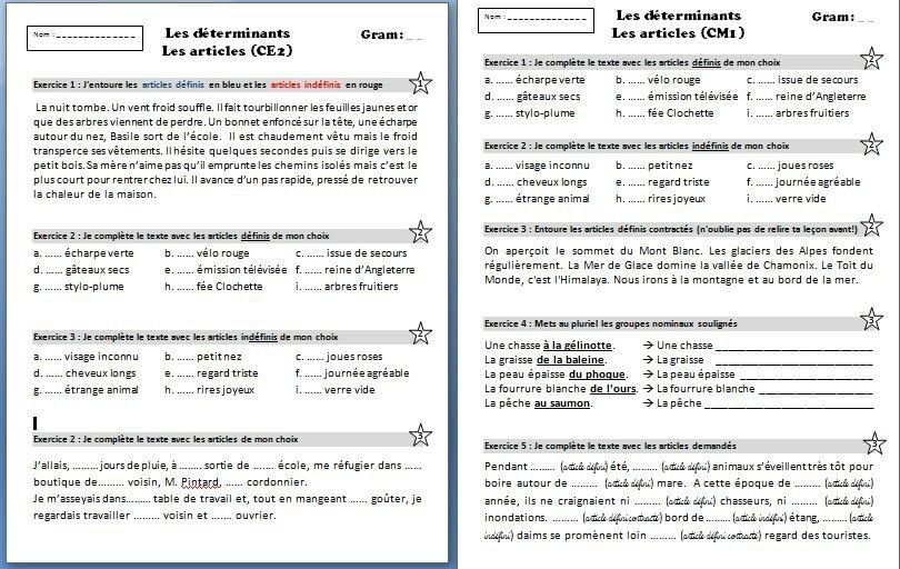 Grammaire Sequence Sur Les Determinants Ce2 Cm1 Journal D Une Pe Ordinaire