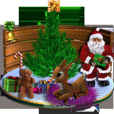 015 carte Noël père sapin renne rudolph nounours