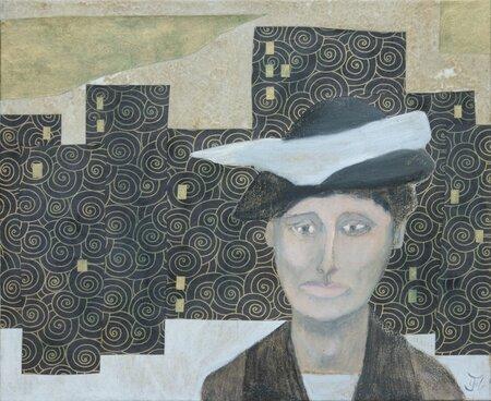 Le chapeau de Charlotte - huile et papier sur toile 46x38 cm
