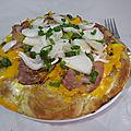 Pizza à la mimolette, coppa et oignons