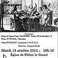 Mardi 15 octobre 2013 à 20h 30 : concert de musique ancienne eglise de plelan le grand