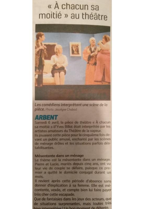 Article dans La Voix de l'Ain du 12-04-2019