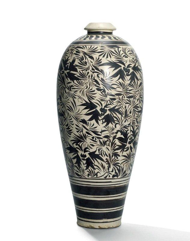 A rare large cizhou painted 'floral' vase,meiping, Jin dynasty (1115-1234)