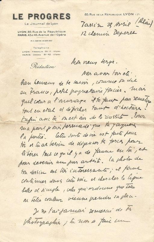 Yves Farge. Une lettre du 25 avril 1941 (?).