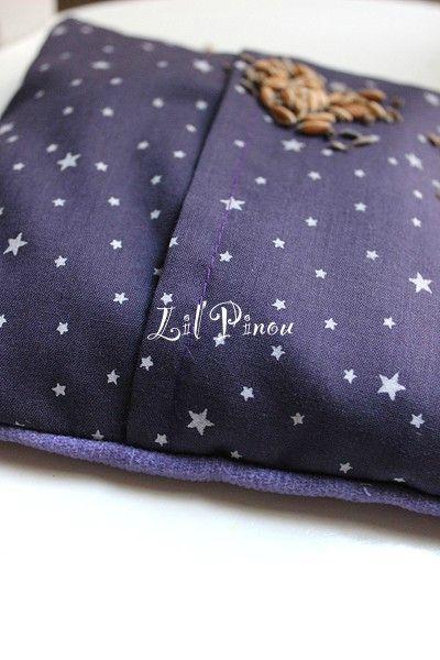 Bouillotte velours d'étoiles prune-lilas