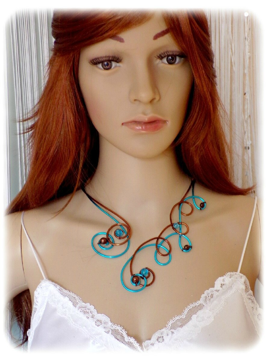 Collier chocolat turquoise 4
