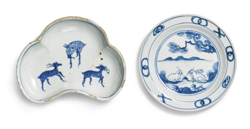 Two blue and white kosometsuke dishes, Ming dynasty, Tianqi period