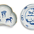 Two blue and white kosometsuke dishes, ming dynasty, tianqi period (1621-1627)