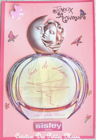 Carte anniversaire parfum Soir de Lune Sisley - femme