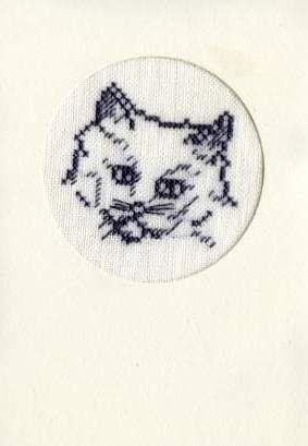 carte chat brodé par moi ( carinne)