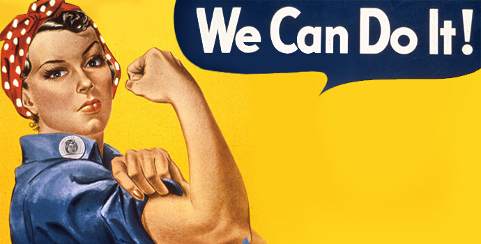 """Rosie the Riveter"", an icon representing the women who worked in factories and shipyards during World War II, now a symbol of feminism."