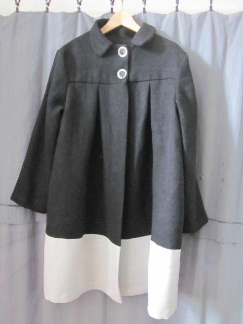 Manteau d'été bicolore en lin noir et glacier (7)
