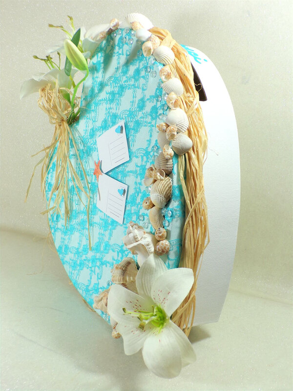 Urne mariage thème la mer coquillage turquoise blanc
