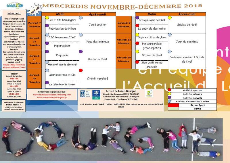 Planning Mercredi Novembre Décembre 2018 moins de 6 ans