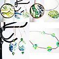 La collection de bijoux fantaisie verts et blancs est en ligne