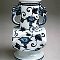 Faceted vase with morning glories, Ming dynasty (1368-1644), Reign of the Xuande emperor (1426-1435)