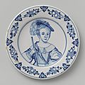 Dish with a portrait of prince william as a child, faceless, delft, 1658