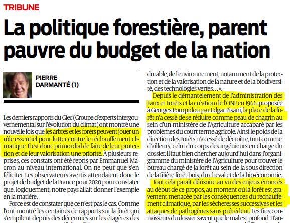 2019 11 04 SO La politique forestière parent pauvre du budget de la nation