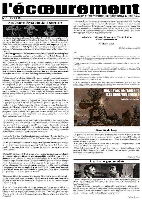 Revue l'écoeurement n°01 - page 1