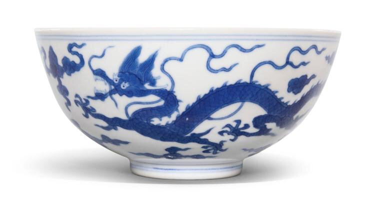 A blue and white 'dragon' bowl, Daoguang mark and period (1821-1850)