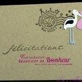 Un combo ... une cigogne ... une carte de naissance fille comme une enveloppe en kraft !