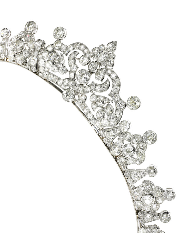 Diamond tiara, Cartier, 1930s - Detail -Magnificent Jewels and Noble Jewels Sotheby's Geneva 13 nov 2019