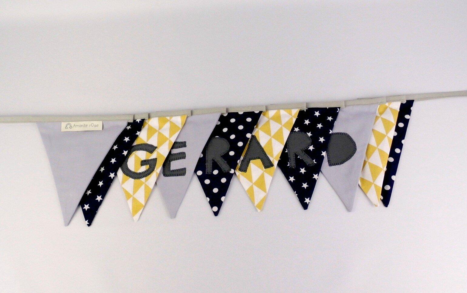 Nursery name banner personalized gift baby kids banderole fanions prénom Gerard gris bleu marine jaune moutarde
