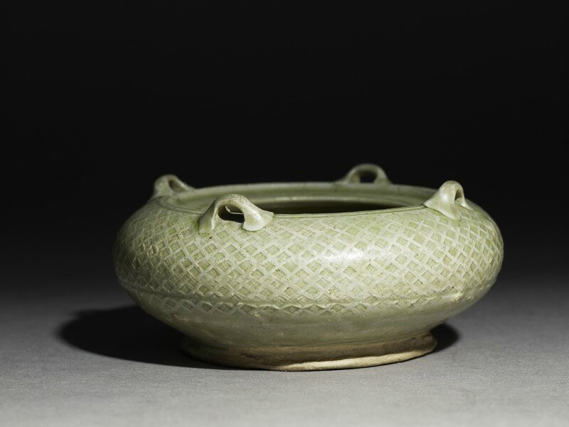 Greenware water pot with loop handles, Yue kiln-sites, late 3rd century - early 4th century AD , Western Jin Dynasty (AD 265 - 316) -Eastern Jin Dynasty (AD 317 - 420)