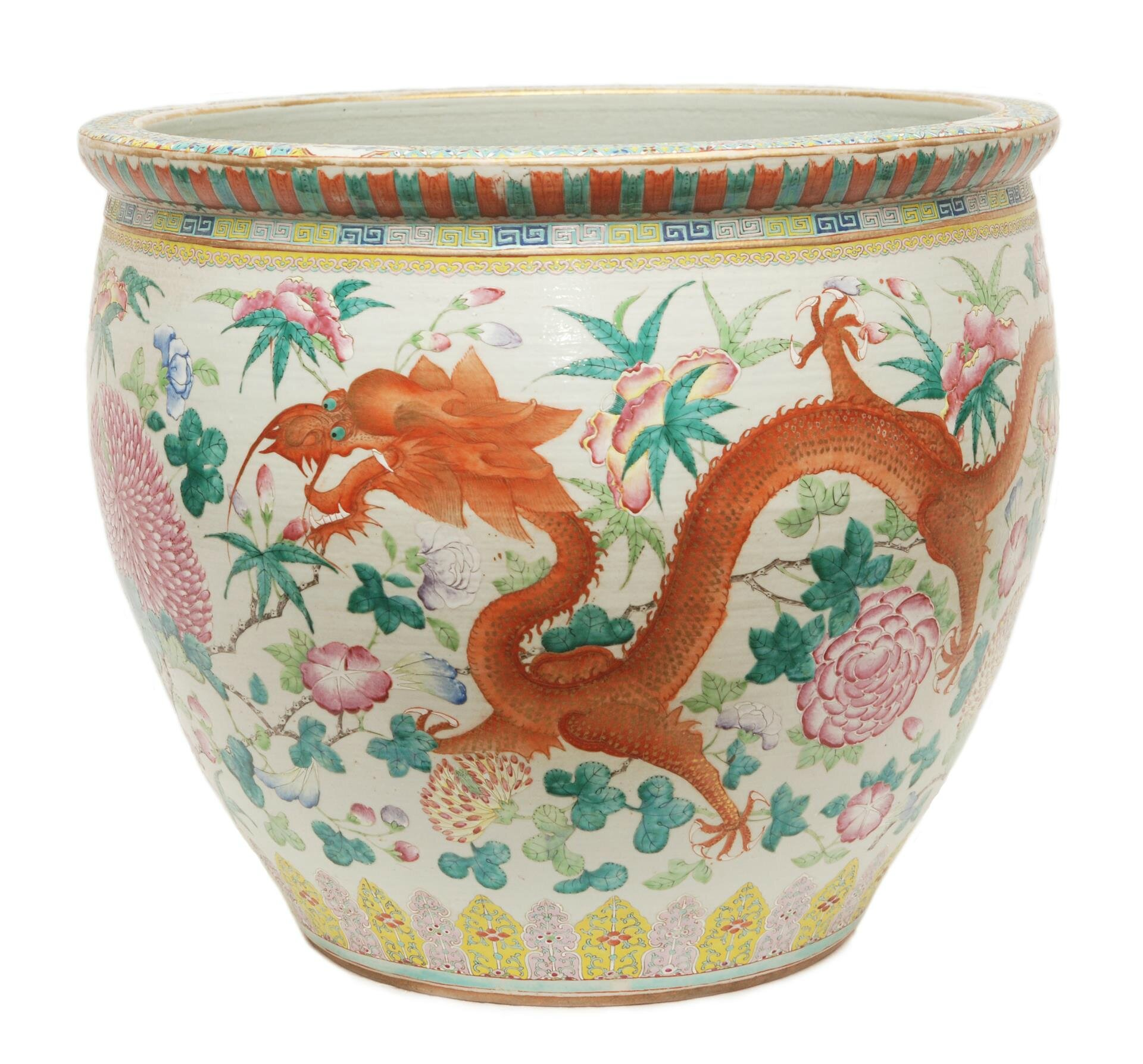 Large Guangxu famille rose porcelain fish bowl. Estimate $6000-$10000. Sold for $16,520. Elite Decorative Arts