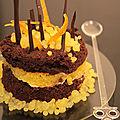 Moelleux au chocolat, à l'orange, oranges confites et billes acidulées