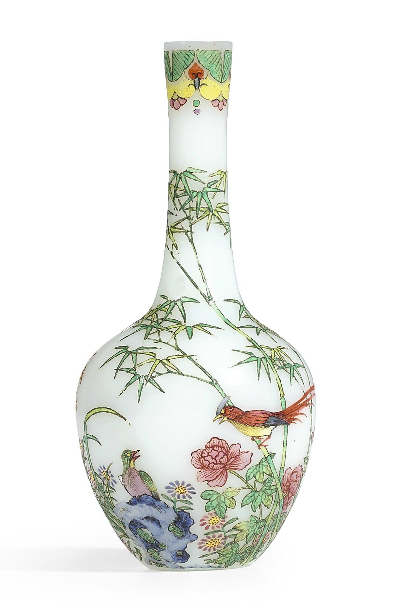 An extremely rare and exquisitely enamelled 'pheasants' glass bottle vase, blue enamel mark and period of Qianlong (1736-1795)