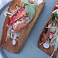 Tacos au homard, au chou et aux radis