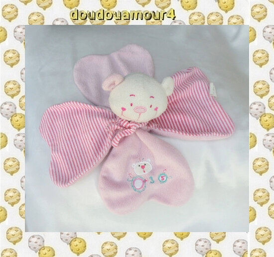 Doudou Peluche Plat Ours Blanc Rose Rayures Echarpe Dodo D'Amour MGM
