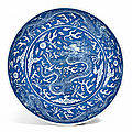 A blue and white 'dragon' dish, daoguang seal mark and period 1821-1850)