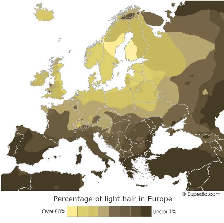 Percentage of light hair in Europe