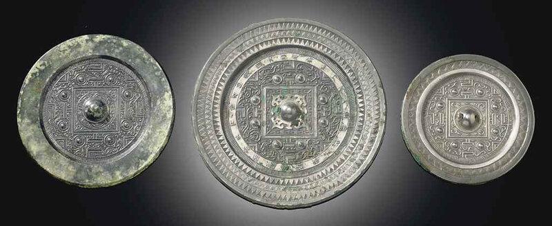Three bronze 'TLV' circular mirrors, Western Han dynasty (206 BC-AD 8)