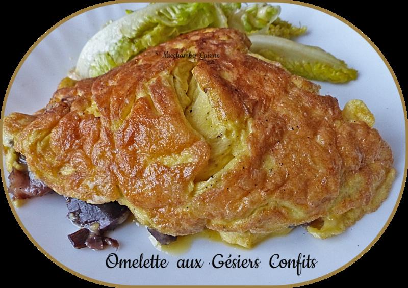 Omelette aux gésiers confits de canard