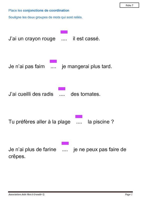 Conjonction fiche7