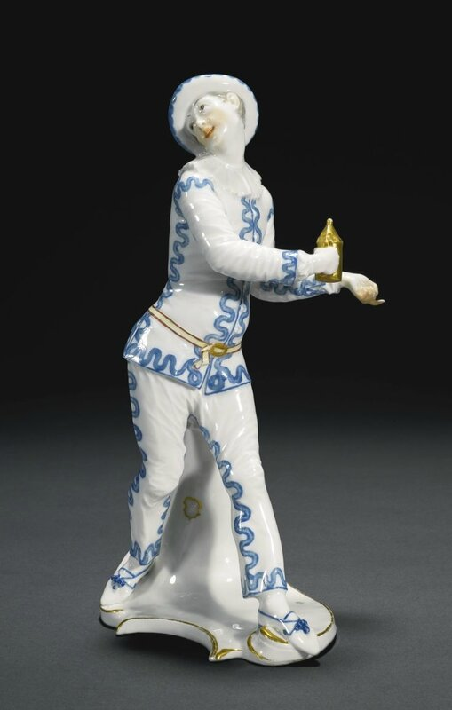An Important Nymphenburg figure of Pierrot from the Commedia dell'arte, circa 1759-65