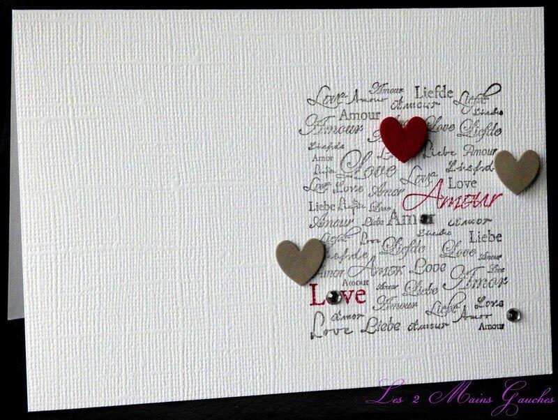 carte de St Valentin multilingue avec coeurs et strass