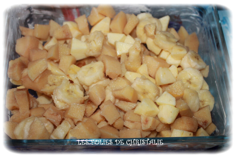 Crumble pommes bananes coings 4