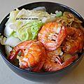 Recette asiatique : crevettes et blanc de poireau sauté sauce aux huîtres.