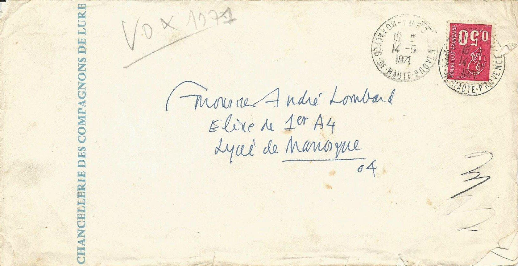 Une lettre de Maximilien Vox.