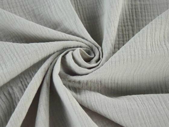 Tissu double gaze de coton uni coloris GRIS PIERRE au mètre