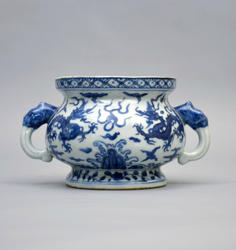 An Imperial Blue and White Two-Handled Bombe Censer, Ming Dynasty, Jiajing six-character mark and of the period