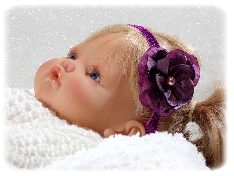 Bandeau bébé violet fleur fait main