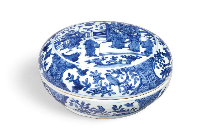 A blue and white sweetmeat' box and cover, Mark and period of Wanli (1573-1619)