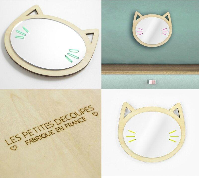 Les petites découpes déco miroir création créateur 100 % français made in france fabriqué en france kidsroom chat glace tipi indien 1