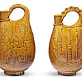 Two amber-glazed ewers, liao dynasty (907-1125) or later
